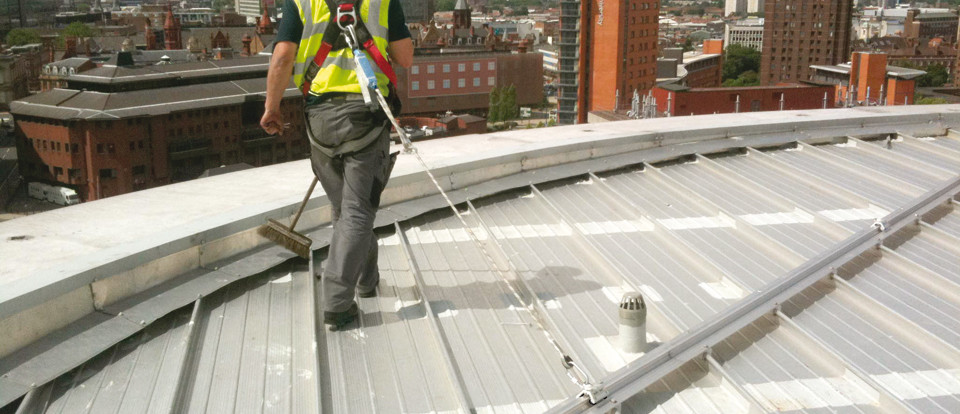 RoofSafe Rail products from Safety Net Protections Systems. Facility Maintenance, Safety Lines, Safe Access Systems.